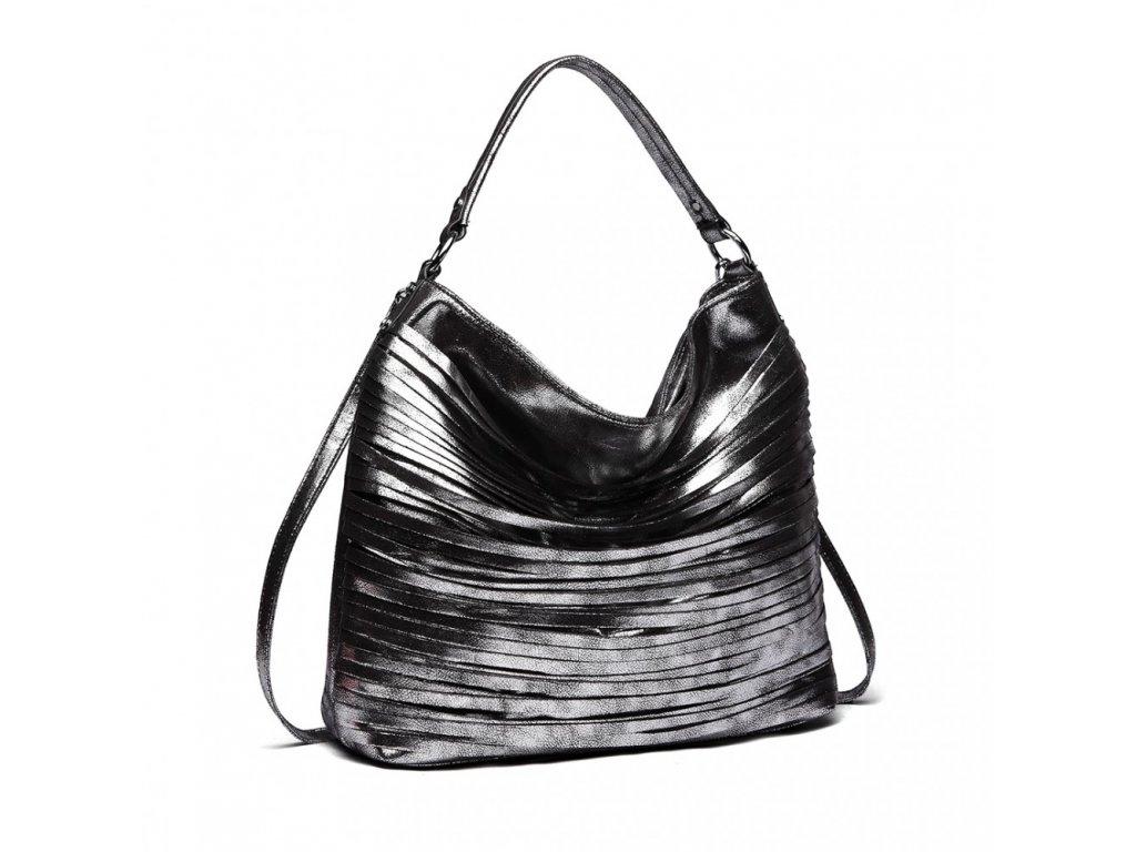 Elegantní stylová dámská kabelka s proužky na rameno - černá