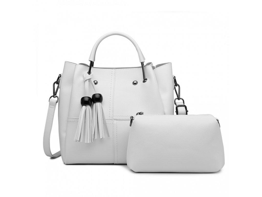 Luxusní designová kabelka s třásněmi - bílá