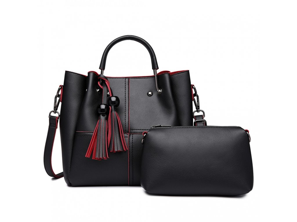 Luxusní designová kabelka s třásněmi - černá s červeným