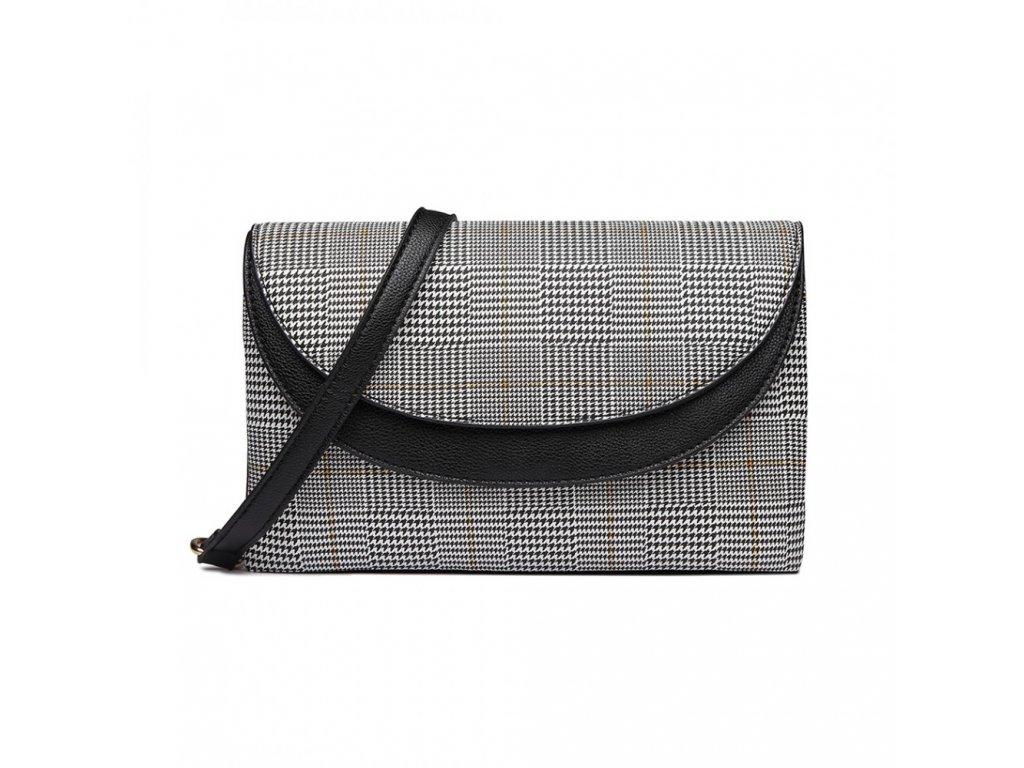 Elegantní crossbody kabelka - černá kostkovaná