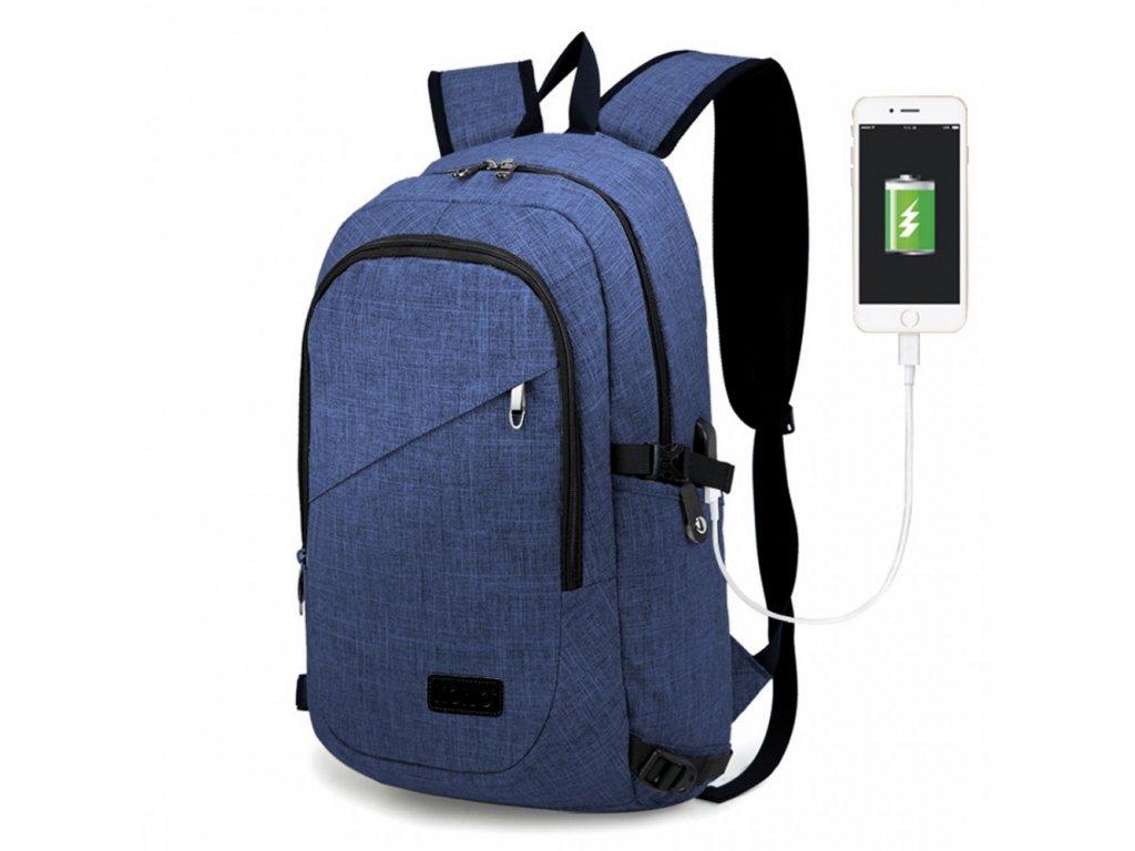 Chytrý batoh nové generace s USB portem - modrý