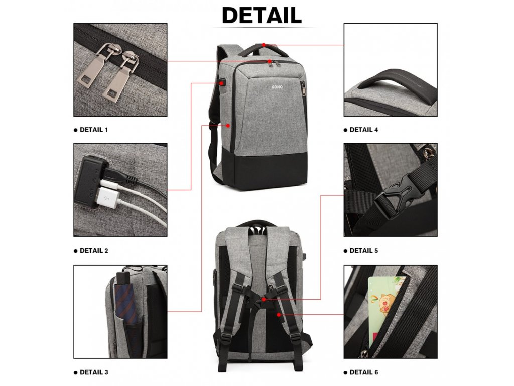 02493262dc7 ... Multifunkční nepromokavý pánský batoh s USB portem - šedo-černý ...