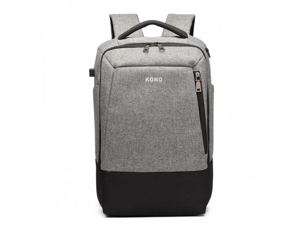 b548a79449c Multifunkční nepromokavý pánský batoh s USB portem - šedo-černý ...