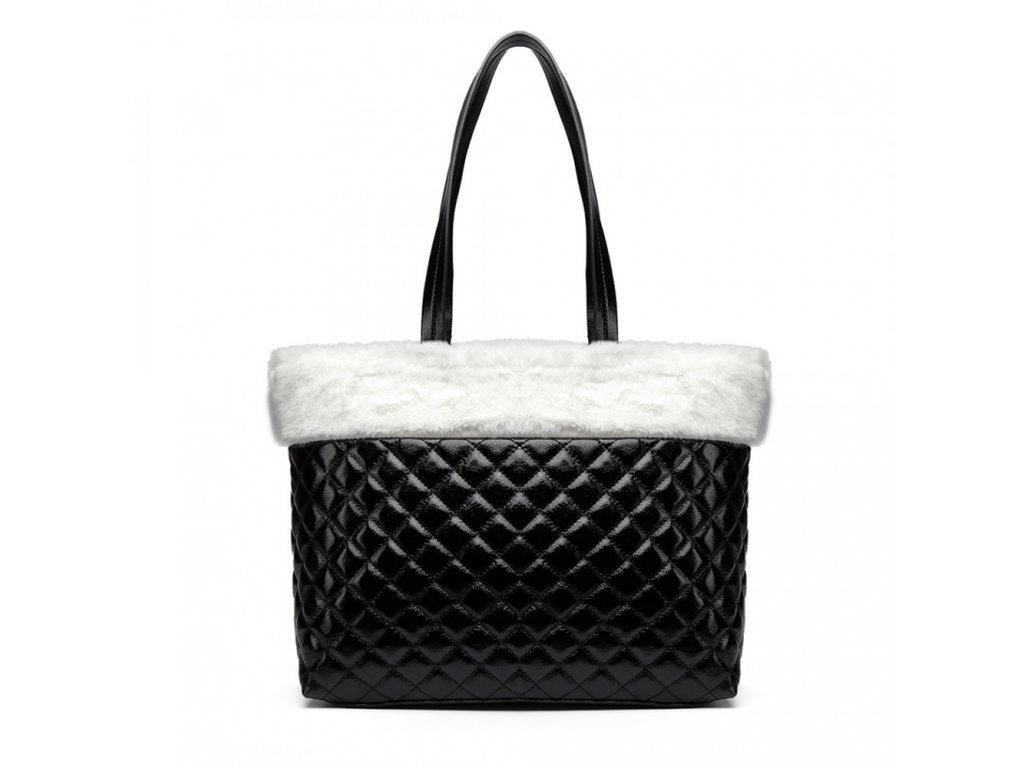 Lesklá elegantní kabelka s kožešinou - černo-bílá