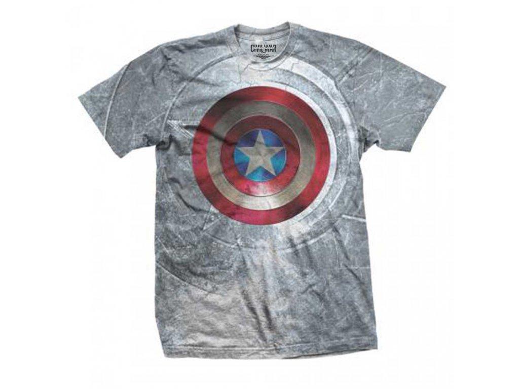 Tričko Captain America Štít Šedé - RájTriček.cz d37770b5da