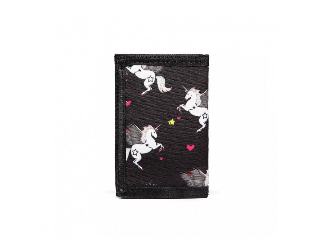 Dětská peněženka - jednorožci - černá