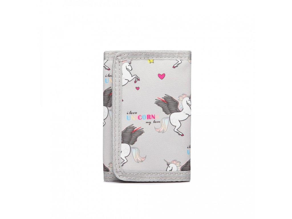 Dětská peněženka - jednorožci - šedá