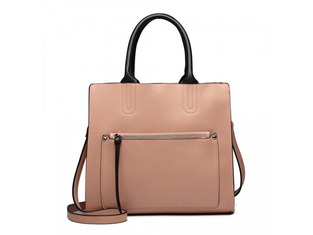 Elegantní dizajnová kabelka Liana - růžová