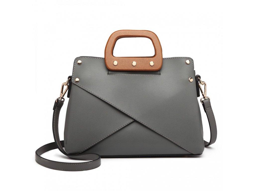 Luxusní elegantní kabelka s dřevěnou rukojetí Daniela - Šedá