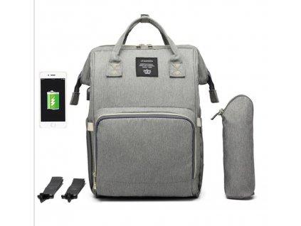 Multifunkční batoh na kočárek se zabudovaným USB portem - šedý