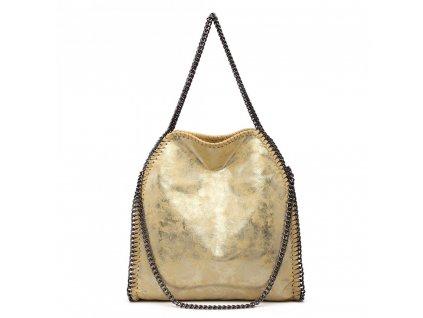 Velká dámská kabelka s řetízky - žlutá