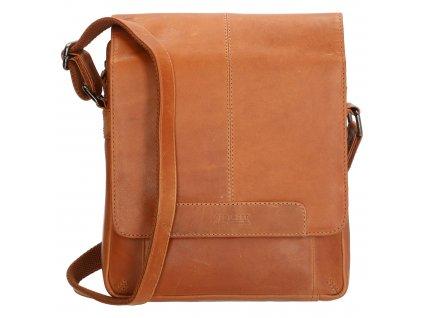 Pánská kožená crossbody taška - hnedá