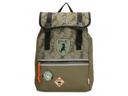 Školní batoh v dinosauřím stylu - Beagles - olivová