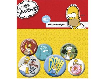 Simpsonovi odznaky - 6 ks Homer placky