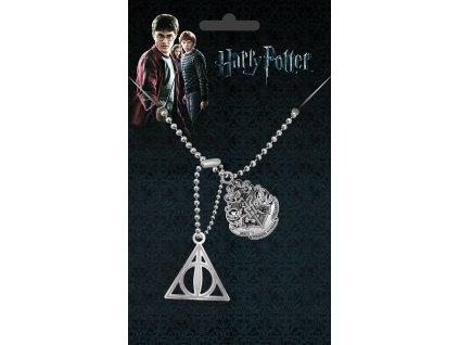 Harry Potter náhrdelník relikvie smrti a erb Bradavic