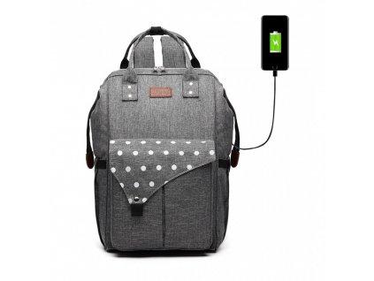 Přebalovací batoh na kočárek Polka s USB portem - šedý s puntíky