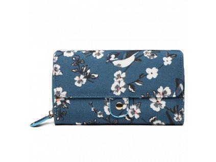 Praktická peněženka - tmavě modrá s ptáčky