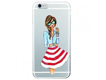 Kryt na mobil Iphone - Slečna v červeno bílé sukni