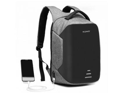 Bezpečnostní USB batoh proti vykradení Mondy - šedý