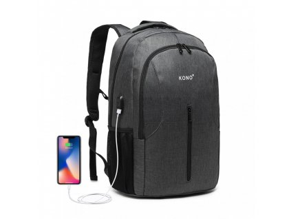 Chytrý batoh se zabudovaným USB portem Manny - šedý