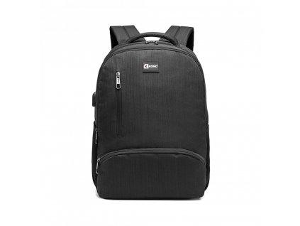 Klasický městský batoh Luno s USB portem - černý