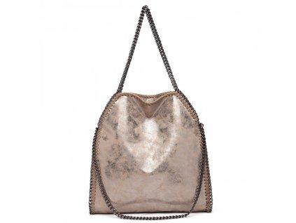 Velká dámská kabelka s řetízky - Taupe