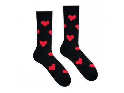 Veselé Ponožky Srdíčka Černé