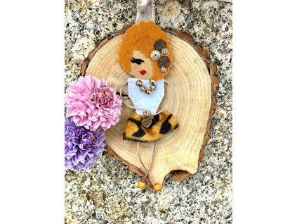 Handmade Filcový přívěsek na kabelku Littletinka Sheila