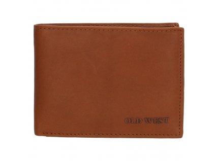Kožená peněženka bez přezky Old West Houston - hnědá