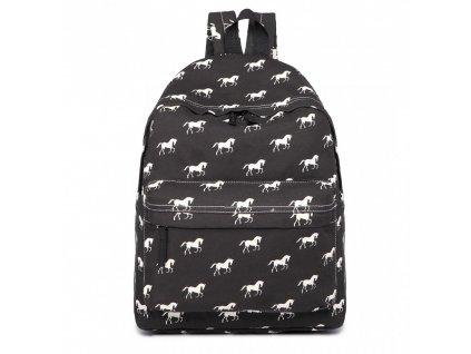 Stylový Školní Batoh - černý koně