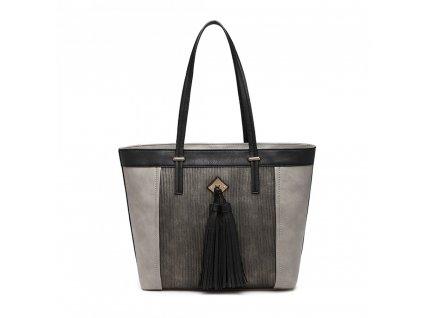 Elegantní kabelka Miss Lully s třásní Nikol - šedá
