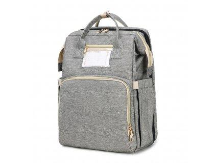 Přebaclovací batoh na kočárek se zabudovanou postýlkou - šedý