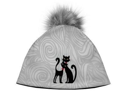 Dámská designová čepice - Cats in black