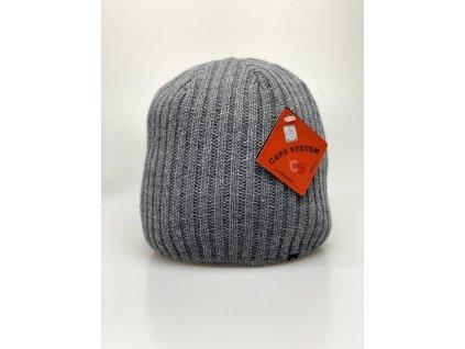 Pánská světle šedá zimní čepice - CAPS SYSTEM