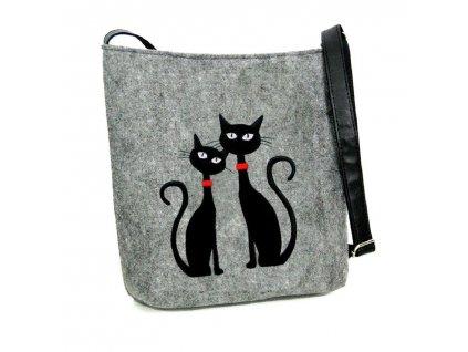 Kabelka crossbody kočky s červeným obojkem