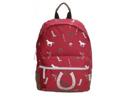 Dětský předškolní batoh Run away Love Horse - burgundy