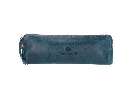 Kožený dámský penál / kosmetička Micmacbags - džínsová modrá