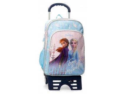 Školní dvoukomorový batoh Frozen s přídavným vozítkem