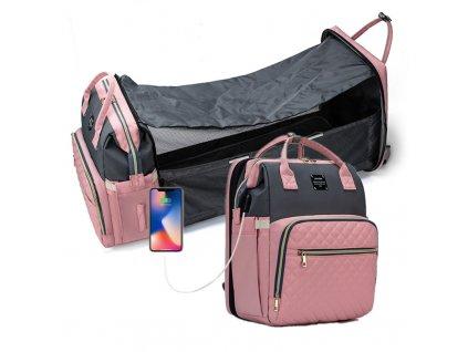 Přebalovací batoh na kočárek se zabudovanou postýlkou - růžovo-šedý