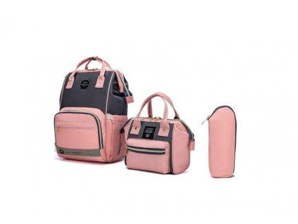 Multifunkční set batoh a taška na kočárek Lequeen - šedo-růžová