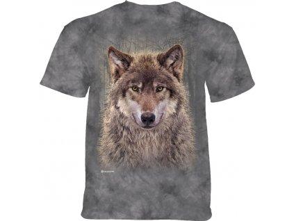 Tričko s potiskem vlka v lese