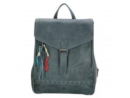 Dámský kožený batoh Micmacbags Friendship - jeansová modrá