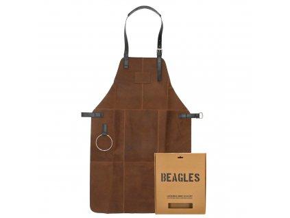 Kožená zástěra Beagles barbecue / grill s okem na utěrku - hnědá