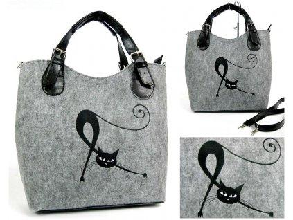 EKO Kabelka Excent - sv. šedá protahující se kočka