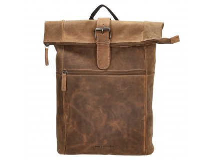 Kožený unisex batoh Hide & Stitches Idaho - hnědý 19L