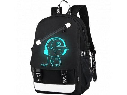 Školní svítící batoh Senkey I love music - černý