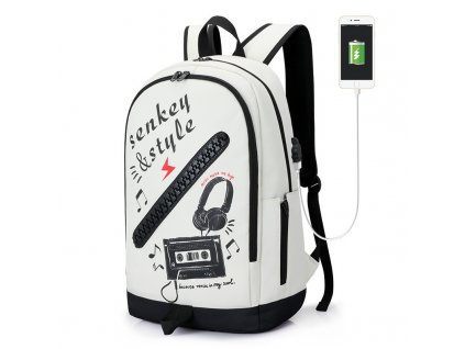 Školní batoh Senkey Style Music - bílý