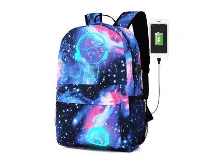 Unisex svítící školní batoh - Galaxy - modrý s UBS portem
