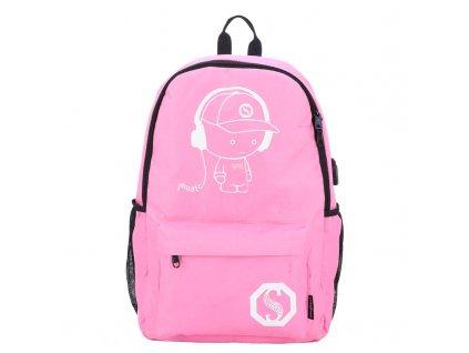 Školní svítící batoh Senkey Style s USB portem - růžový