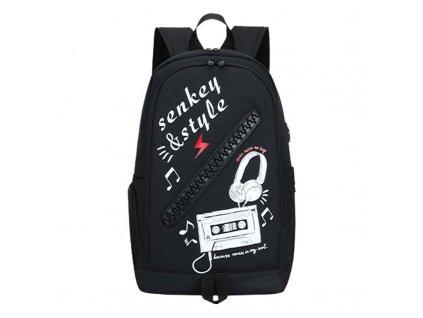Školní batoh Senkey Style Music - černý